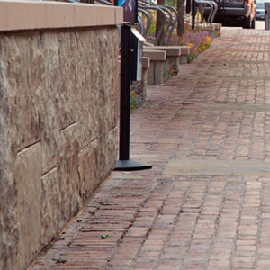 Photo of specific mortared paving materials used in Downtown Aspen
