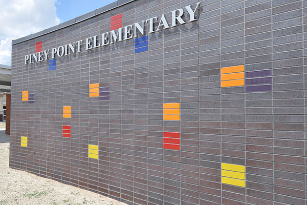 Piney Point Elementary brick wall installation
