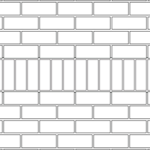 Soldier course thin brick pattern